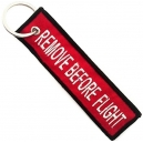 REMOVE BEFORE FLIGHT Red Patch Embroidered Μotorbike Keyring