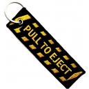 PULL TO EJECT Yellow Theme Patch Embroidered Μotorbike Keyring