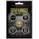 GUNS N 'ROSES Bullet Logo 5pcs Set Official Kονκάρδες